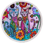Whimsical Talavera Cats Round Beach Towel