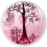 Whimsical Tree And Hidden Heart Round Beach Towel