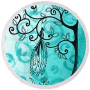 Whimsical Tree And Magical Bird Round Beach Towel