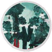 Whimsical Wintry Trees Round Beach Towel by Karen Nicholson