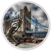 Whimsy At Tower Bridge Round Beach Towel