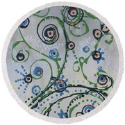 Round Beach Towel featuring the painting Whippersnapper's Whim by Holly Carmichael