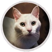 Whiskers And Rose Round Beach Towel