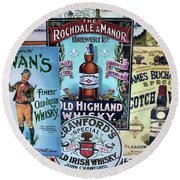 Round Beach Towel featuring the photograph Whiskey Or Whisky by John S