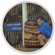 Round Beach Towel featuring the painting Whiskey Sleeping by Jan Dappen
