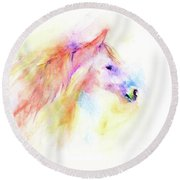 Round Beach Towel featuring the painting Whisper by Elizabeth Lock