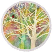 Round Beach Towel featuring the painting Whisper by Hailey E Herrera