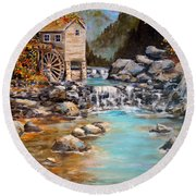 Round Beach Towel featuring the painting Whisper Run Mill by Alan Lakin