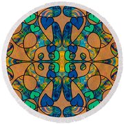 Whispering Dimensions Abstract Design Art By Omaste Witkowski  Round Beach Towel