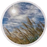 Whispering Grasses Round Beach Towel