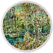 Whispering Leave Round Beach Towel