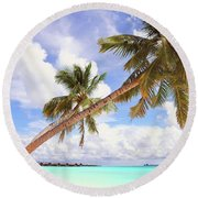Whispering Palms. Maldives Round Beach Towel