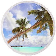 Whispering Palms. Maldives Round Beach Towel by Jenny Rainbow