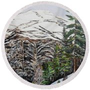 Round Beach Towel featuring the painting Whispering Pines by Marilyn  McNish