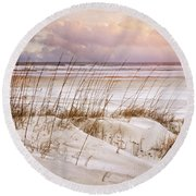 Round Beach Towel featuring the photograph Whispers In The Dunes by Debra and Dave Vanderlaan