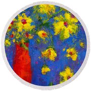 Abstract Floral Art, Modern Impressionist Painting - Palette Knife Work Round Beach Towel