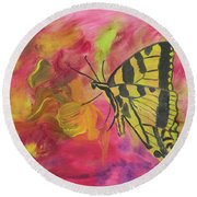 Whispers Of Wings And Petals Round Beach Towel by Meryl Goudey