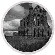 Whitby Abbey, North York Moors Round Beach Towel