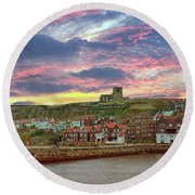 Whitby Abbey Uk Round Beach Towel