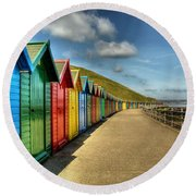 Whitby Beach Huts Round Beach Towel