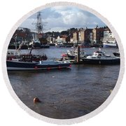 Whitby Harbour - North Yorkshire Round Beach Towel