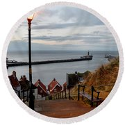 Whitby Steps Blue Hour Round Beach Towel
