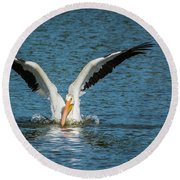 White American Pelican Round Beach Towel