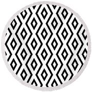 White And Black Pattern Round Beach Towel by Christina Rollo