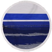 White And Blue Boat Symmetry Round Beach Towel