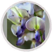 Wisteria White And Purple Round Beach Towel