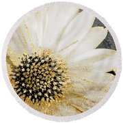 White And Gold Daisy Round Beach Towel