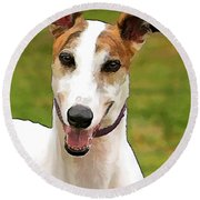 White And Tan Greyhound Round Beach Towel