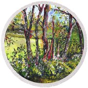 White And Yellow - An Unusual View Round Beach Towel