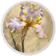 White And Yellow Iris Round Beach Towel
