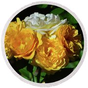White And Yellow Rose Bouquet 001 Round Beach Towel