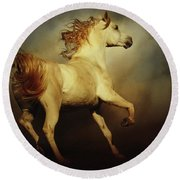 White Arabian Horse With Long Beautiful Mane Round Beach Towel