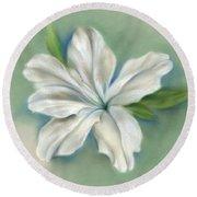 White Azalea Flower Round Beach Towel