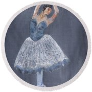 Round Beach Towel featuring the painting White Ballerina by Jamie Frier