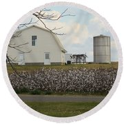 White Barn Cotton Patch Sunny Round Beach Towel by Rosalie Scanlon