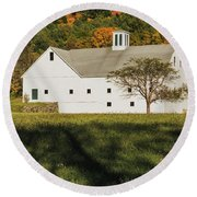 White Barn In Color Round Beach Towel