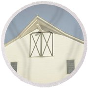 Round Beach Towel featuring the photograph White Barn South Woodstock Vermont by Edward Fielding