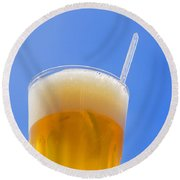 White Beer Against Blue Siky Round Beach Towel