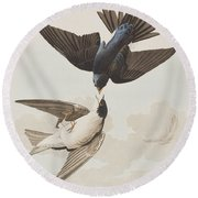 White-bellied Swallow Round Beach Towel by John James Audubon