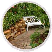 White Bench In The Garden Round Beach Towel by Rosalie Scanlon