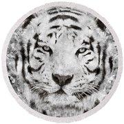 White Bengal Tiger Portrait Round Beach Towel