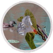 White Bindweed And Mandarin Duck Mix #g5 Round Beach Towel