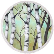 White Birch Round Beach Towel by Inese Poga
