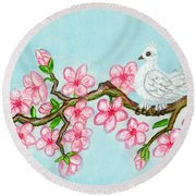 White Bird On Branch With Pink Flowers, Painting Round Beach Towel