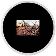 White Blossom Branches Round Beach Towel