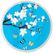 White Blossoms And Butterflies  Round Beach Towel